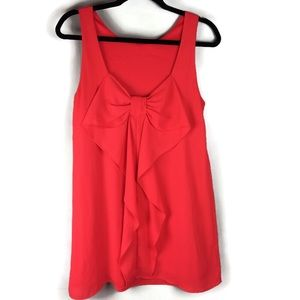 Everly Red Bow Scoop Back Mini Dress Size Small